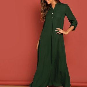 BRAND NEW GREEN MAXI COLLARED SHIRT DRESS SLEEVES